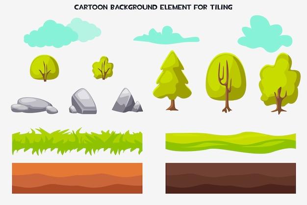 Element Tła Kreskówka Do Układania Przyrody Premium Wektorów