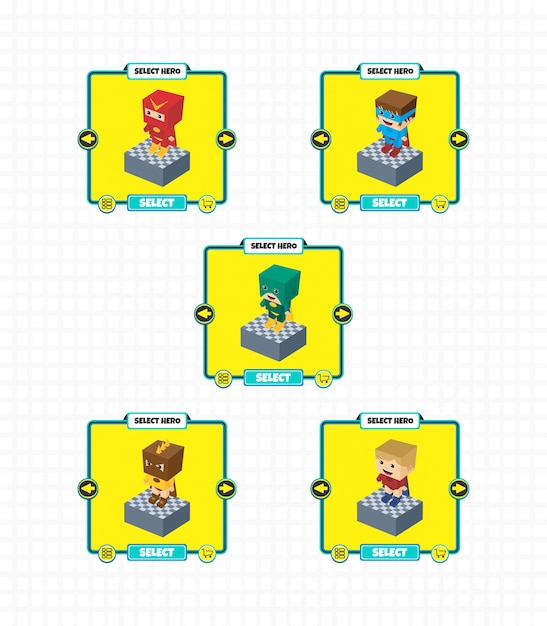 Element wyposażenia gry hero charakter postaci Premium Wektorów