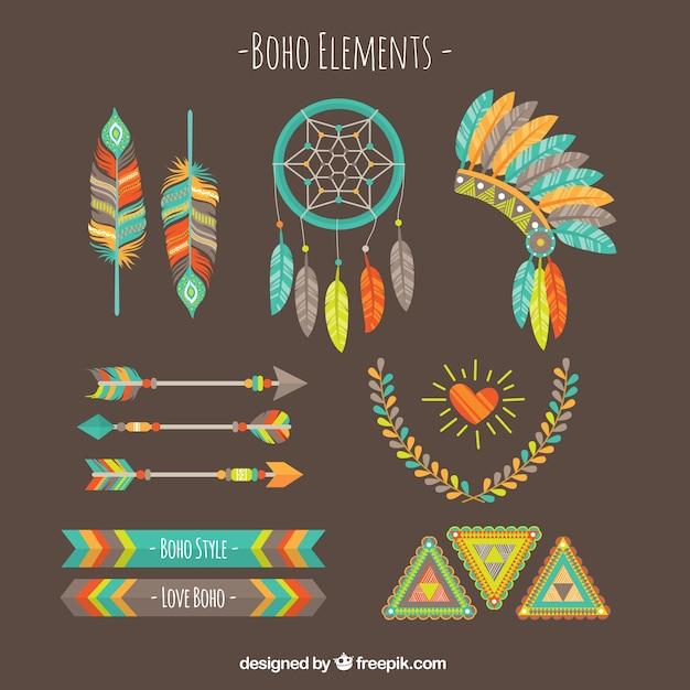 Element Zestaw Kolorowych Boho Darmowych Wektorów