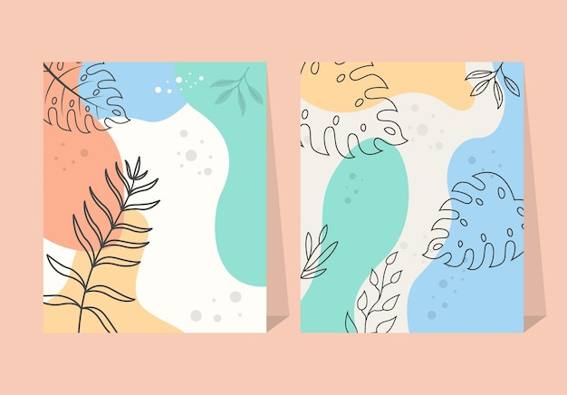 Elementy Abstrakcyjne Tropikalne Liście Kwiat Plakat Tło Premium Wektorów