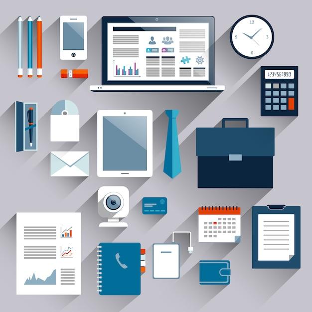 Elementy biznesowe i urządzenia mobilne zestaw tablet telefon notatnik plastikowa karta ilustracji wektorowych Darmowych Wektorów