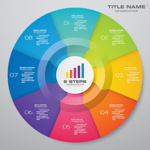 Elementy Cyklu Infografiki Wykresu. Premium Wektorów