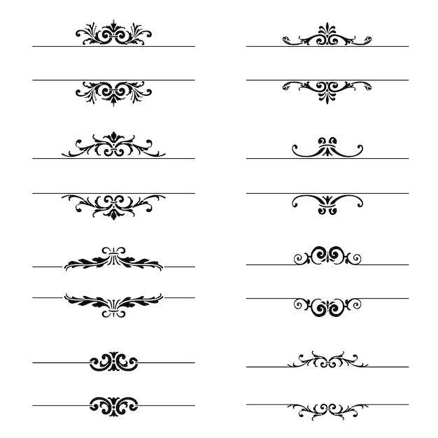 Elementy Dekoracyjno Kolekcji Darmowych Wektorów