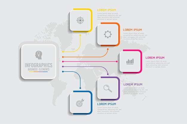 Elementy Do Infografiki. Prezentacja I Wykres. Kroki Lub Procesy. Opcje Numer Projektu Szablonu Przepływu Pracy. 5 Kroków. Premium Wektorów