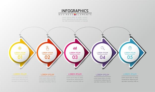 Elementy Do Prezentacji Infografiki I Kroki Wykresu Lub Opcje Procesów Liczba Kroków Szablonu Przepływu Pracy Premium Wektorów