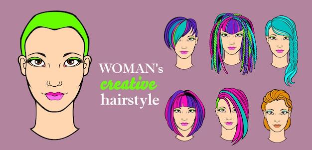 Elementy Fryzury Kobiecej Do Aplikacji Dla Fryzjerów Premium Wektorów