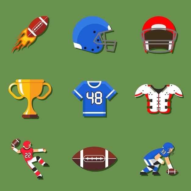 Elementy Futbolu Amerykańskiego W Stylu Płaski Darmowych Wektorów