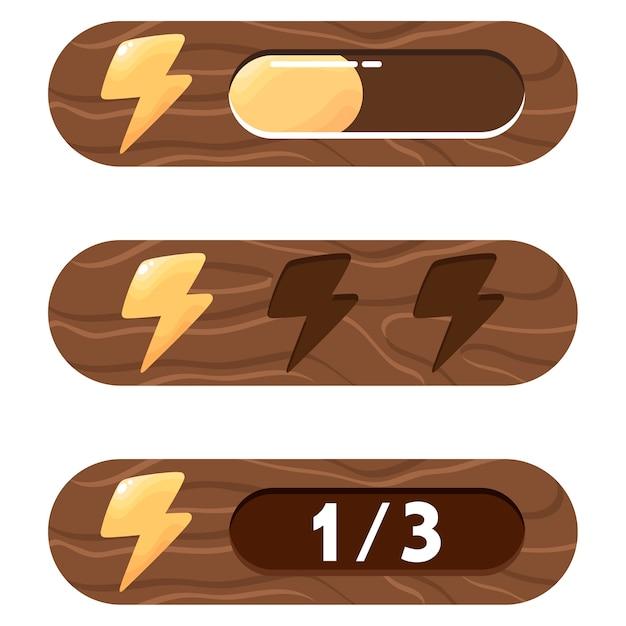 Elementy Gui. Trzy Różne Opcje Przedstawiania Energii (pasek Postępu, Wypełnienie I Numeryczna). Zestaw Elementów Energii, Siły, Mocy Gracza. Premium Wektorów