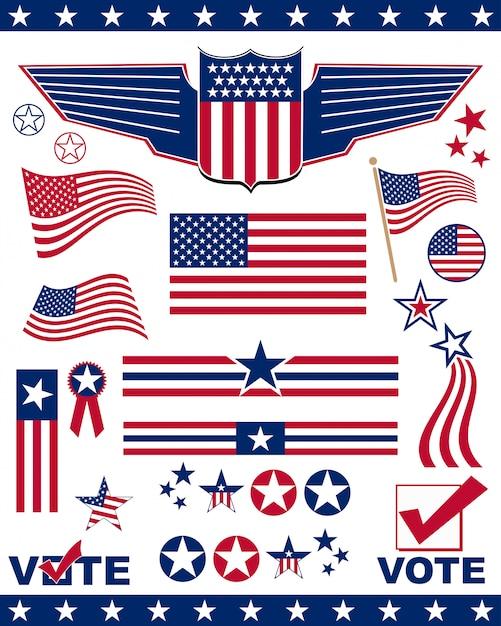 Elementy i ikony związane z amerykańskim patriotyzmem Premium Wektorów