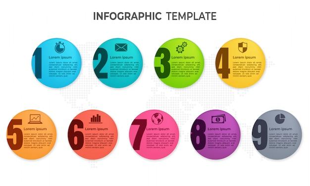 Elementy Infografiki Zakreślają 9 Opcji. Premium Wektorów