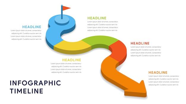 Elementy infographic dla kroków, osi czasu, przepływu pracy Premium Wektorów