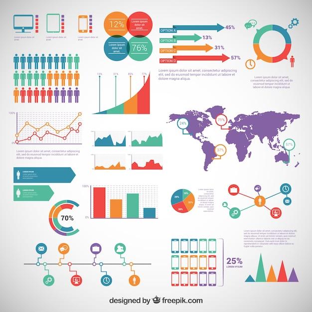 Elementy infographic spakować Darmowych Wektorów