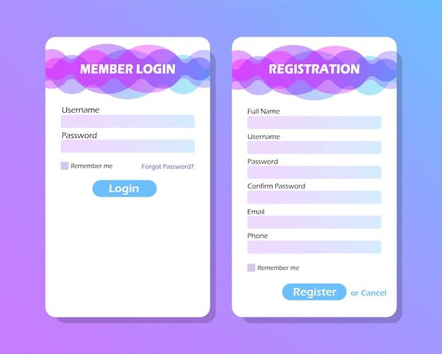 Elementy Interfejsu Użytkownika. Formularz Logowania I Formularz Rejestracyjny. Premium Wektorów