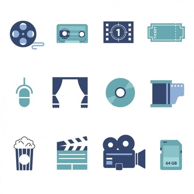Elementy kolekcji kino Darmowych Wektorów