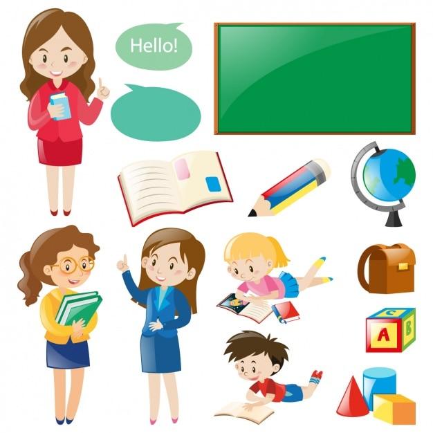 Elementy kolekcji szkolne Darmowych Wektorów