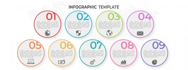 Elementy Koło Infographic 9 Opcji. Premium Wektorów