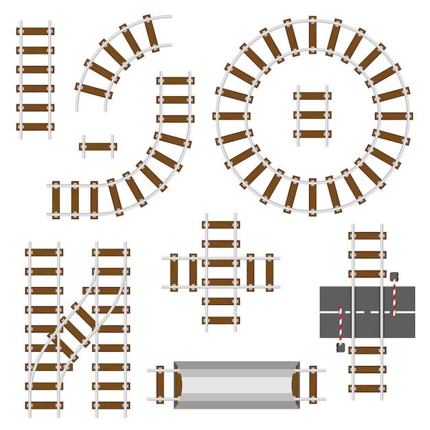 Elementy konstrukcyjne kolei. widok z góry tory kolejowe wektor zestaw Premium Wektorów