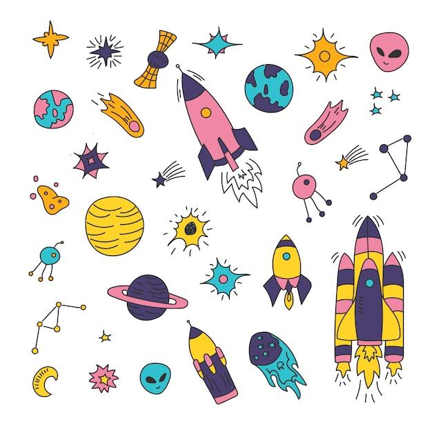 Elementy Kosmiczne, Gwiazda, Kometa, Asteroida, Planety, Księżyc, Słońce Premium Wektorów