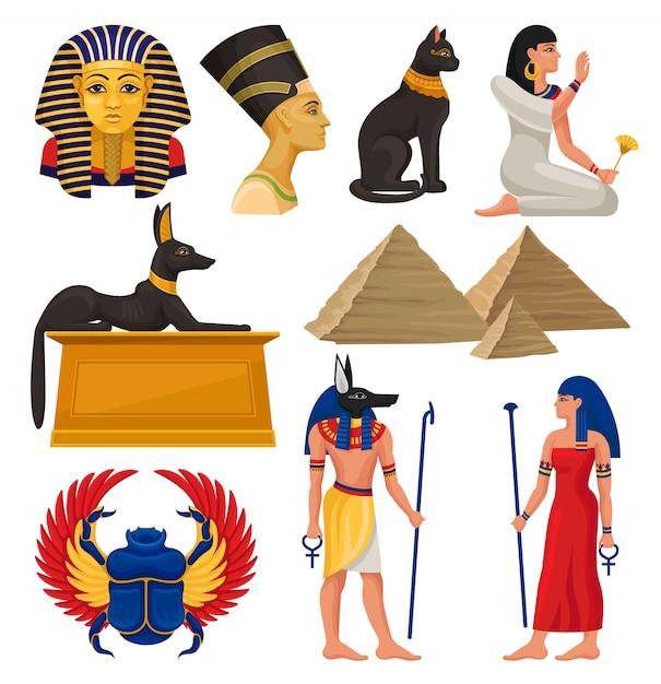 Elementy Kulturowe Starożytnego Egiptu. Faraon I Królowa, święte Zwierzęta, Egipskie Piramidy I Ludzie. Zestaw Premium Wektorów