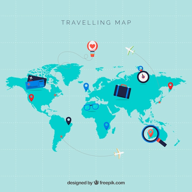 Elementy Mapy I Podróży O Płaskiej Konstrukcji Darmowych Wektorów