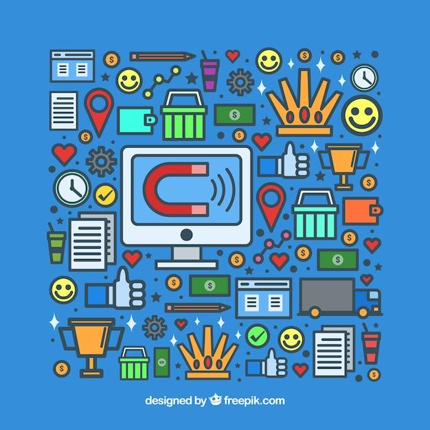 Elementy marketingowe wpływające Darmowych Wektorów