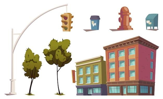 Elementy Miejskiego Krajobrazu Z Budynkami Mieszkalnymi, Sygnalizacją świetlną, Hydrantem Przeciwpożarowym, Koszem Na śmieci I Skrzynką Pocztową. Darmowych Wektorów
