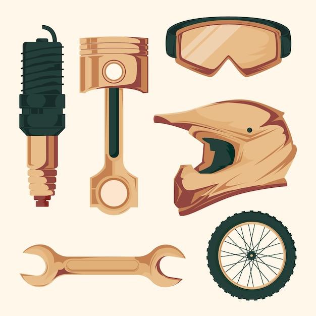 Elementy Motocrossowe W Stylu Retro Darmowych Wektorów