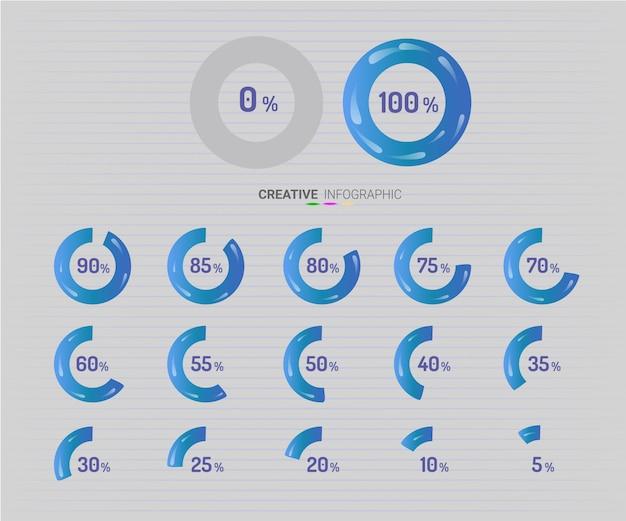 Elementy plansza koło wykresu ze wskazaniem procentów Premium Wektorów