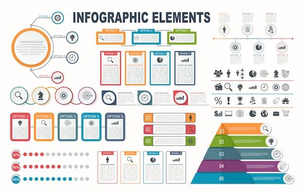 Elementy plansza, schemat, układ przepływu pracy, opcje kroku biznesowego, baner, projektowanie stron internetowych. Premium Wektorów