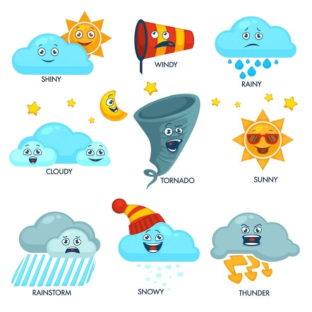 Elementy prognozy pogody z zestawem twarzy i znaków Premium Wektorów