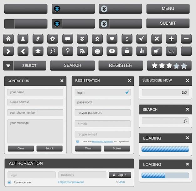 Elementy Projektowania Stron Internetowych Ustawione Na Czarno Premium Wektorów