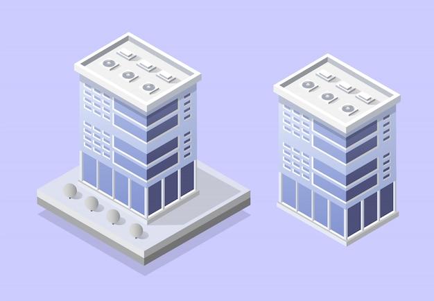 Elementy projektu gród z izometrycznym budynku Premium Wektorów