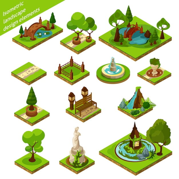 Elementy projektu izometryczny krajobraz Darmowych Wektorów