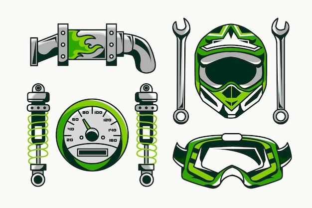 Elementy Retro Motocross Darmowych Wektorów