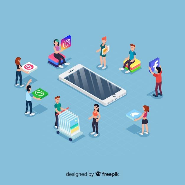 Elementy społecznościowych mediów w stylu izometrycznym Darmowych Wektorów
