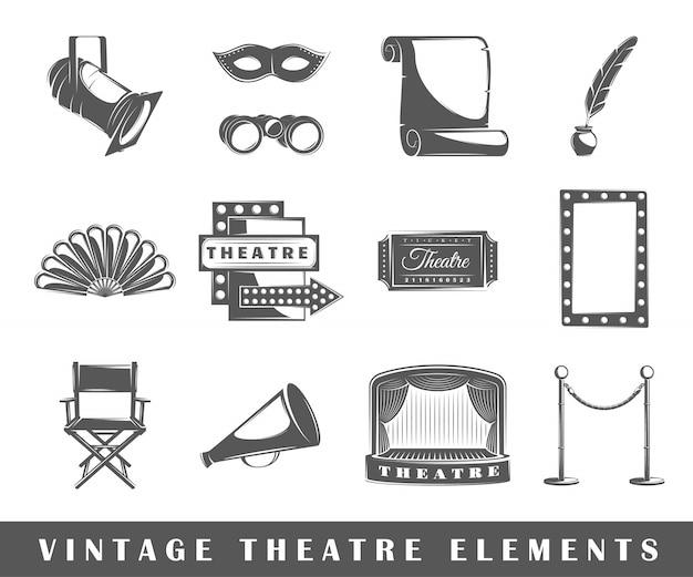 Elementy Teatru W Stylu Vintage Premium Wektorów