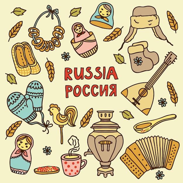 Elementy W Stylu Rosyjskim Premium Wektorów