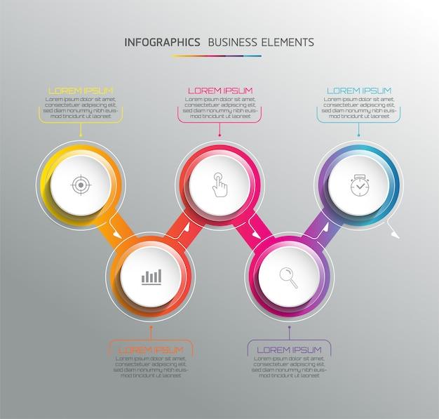 Elementy Wektorowe Dla Plansza. Prezentacja I Wykres. Kroki Lub Procesy. 5 Kroków Premium Wektorów