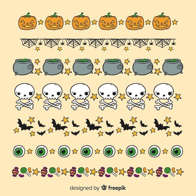 Elementy witchcraft do zbierania obramowań halloween Darmowych Wektorów