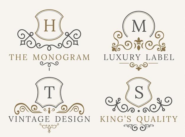 Elementy Wystroju Luksusowego Logo Kaligraficzne. Premium Wektorów