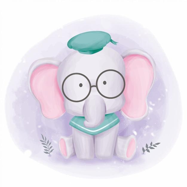 Elephant Baby Ready For School Premium Wektorów