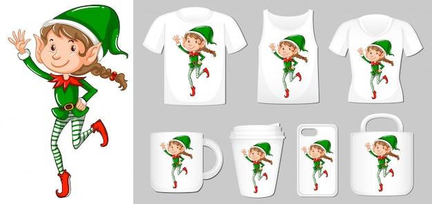 Elf świętego Mikołaja Na Różne Rodzaje Szablonu Produktu Darmowych Wektorów