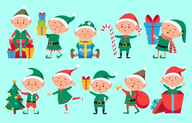 Elf świętego mikołaja. śliczni pomocnicy świętego mikołaja. zabawny zimowy zestaw karzełków Premium Wektorów