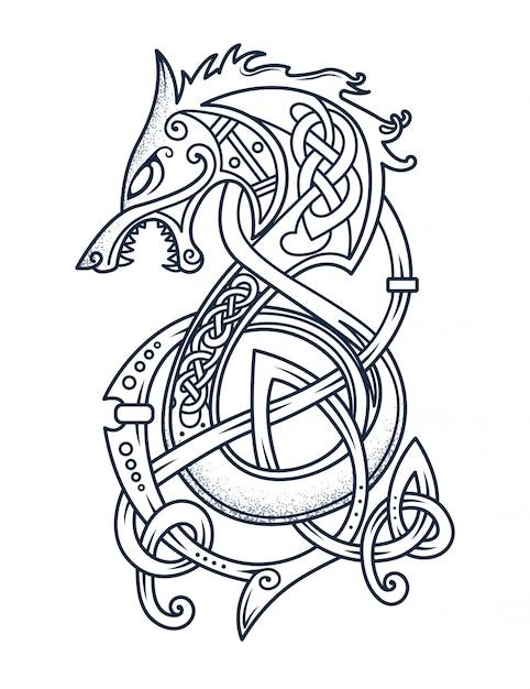 Emblemat dzielnego wikinga Premium Wektorów