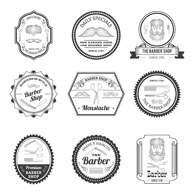 Emblematy barber shop Darmowych Wektorów