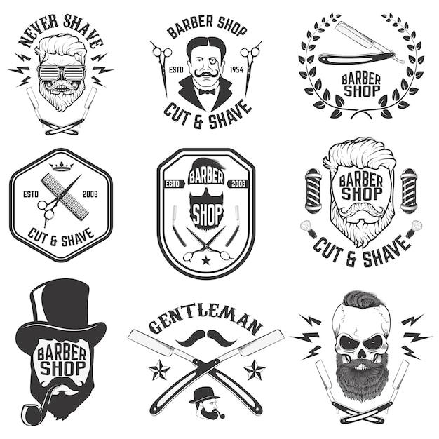 Emblematy fryzjerskie. zestaw narzędzi fryzjerskich. różne fryzury. Premium Wektorów