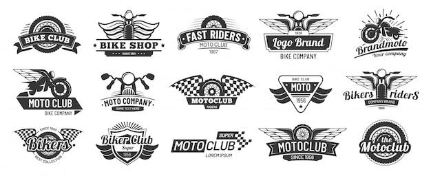Emblematy Klubu Motocyklowego. Odznaki Jeździec Retro Motocykl, Moto Sportowe Godło I Motocykl Sylwetka Odznaka Wektor Zestaw Premium Wektorów