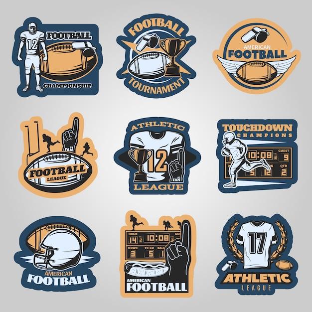 Emblematy Zawodów Futbolu Amerykańskiego Z Biegnącymi Zawodnikami Piankowym Sprzętem Sportowym Darmowych Wektorów