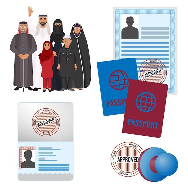 Emigracje Arabskie Z Zatwierdzonymi Przez Znaczki Dokumentami I Paszportami. Premium Wektorów