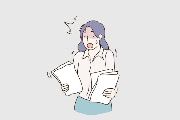 Emocjonalna biznesowa dama krzyczy. ciężki stresujący dzień pracy w biurze. Premium Wektorów